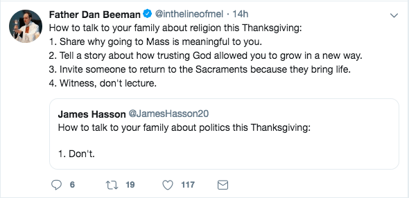 Fr Dan Beeman thanksgiving tweet